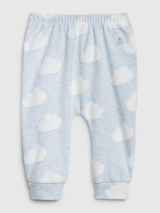 Erkek Bebek Mavi Bulut Desenli Pull-On Eşofman Altı