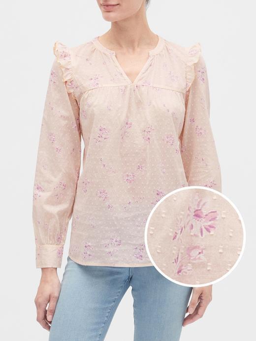 Kadın Pembe Fırfırlı Desenli Gömlek