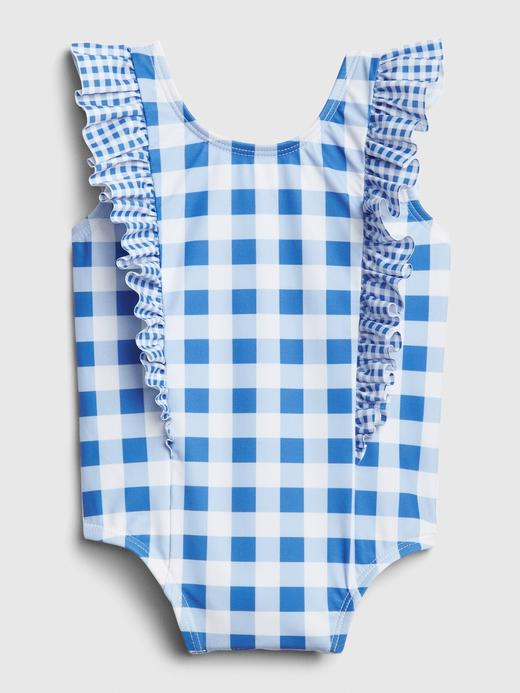 Kız Bebek Mavi Fırfırlı Kareli Mayo