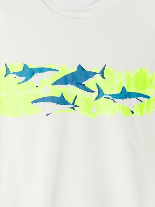 Erkek Çocuk Beyaz Köpek Balığı Desenli Mayo Üstü