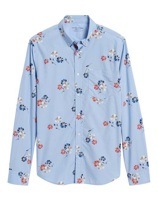 Erkek Mavi Untucked Slim-Fit Luxe Poplin Gömlek