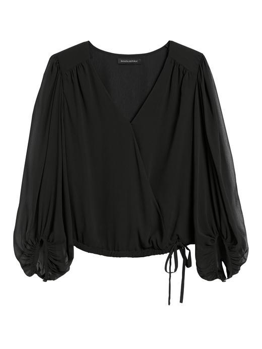 Kadın Siyah Balon Kollu Bluz