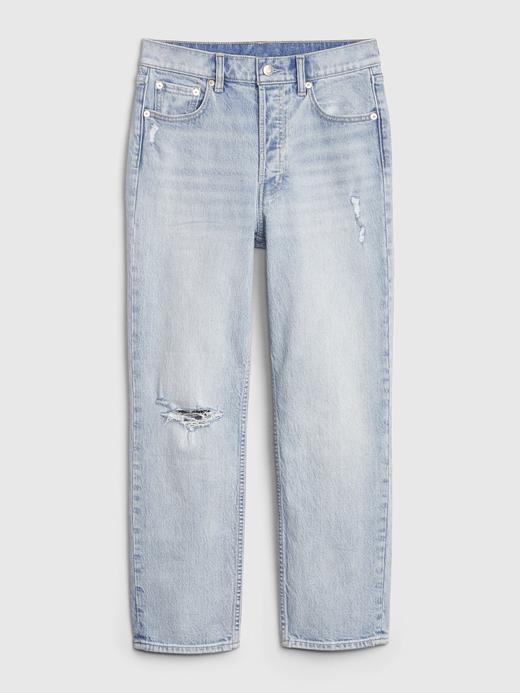 Kadın Açık İndigo High Rise Straight Jean Pantolon