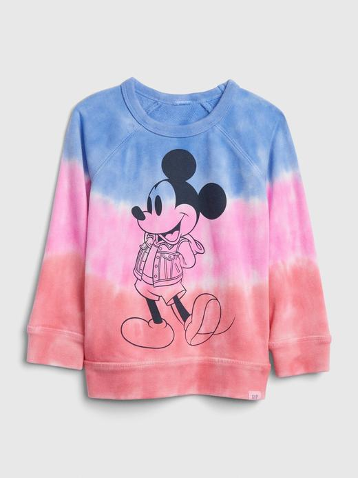Erkek Bebek Mavi Disney Mickey Mouse Batik Sweatshirt