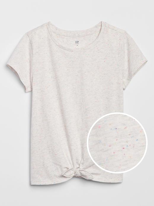 Kız Çocuk Gri Düğüm Detaylı T-Shirt