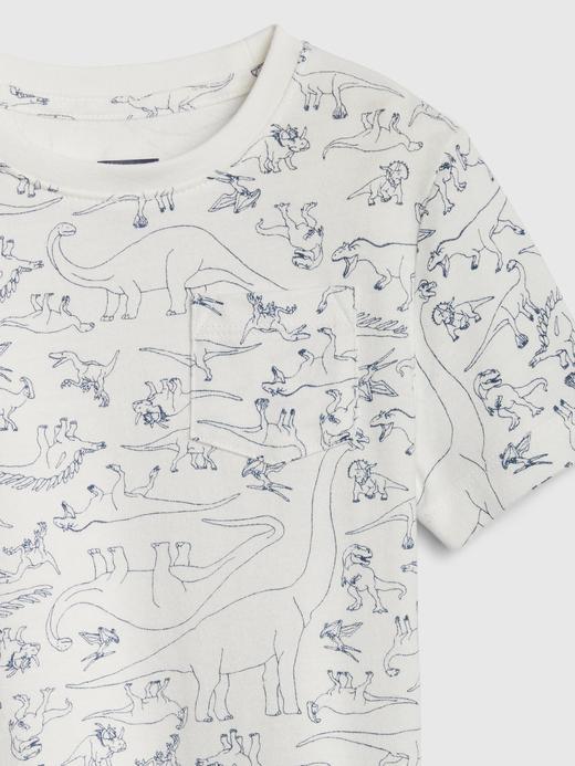 Erkek Bebek Gri Cepli Desenli T-Shirt