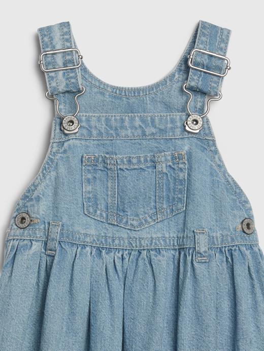 Kız Bebek orta yıkama Denim Elbise