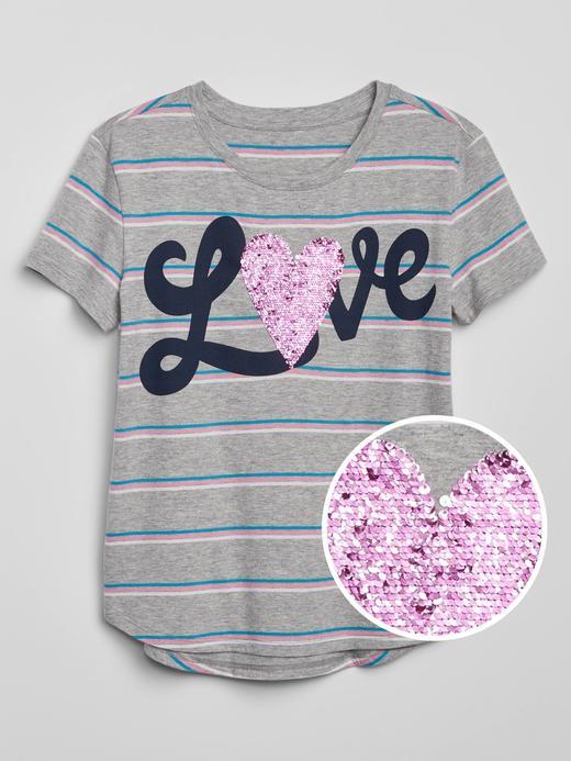 Kız Çocuk Gri Pullu Kısa Kollu T-Shirt