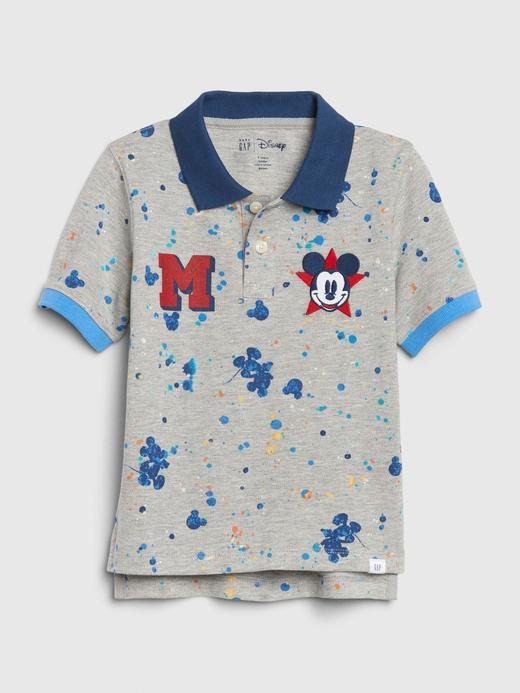 Erkek Bebek Gri Disney Mickey Mouse Polo Yaka T-Shirt