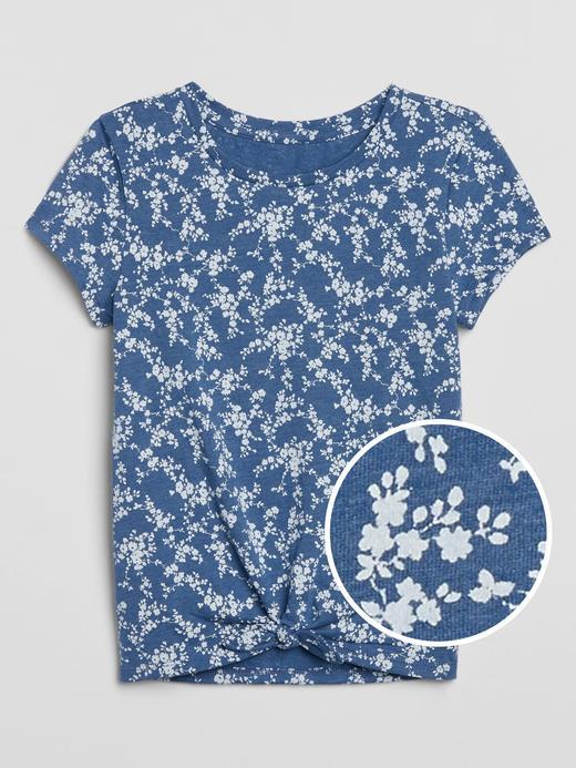 Kız Çocuk Mavi Büzgülü T-Shirt