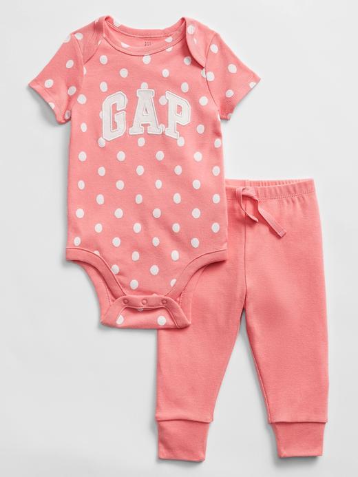 Erkek Bebek Pembe Gap Logo Desenli Body ve Alt Takımı