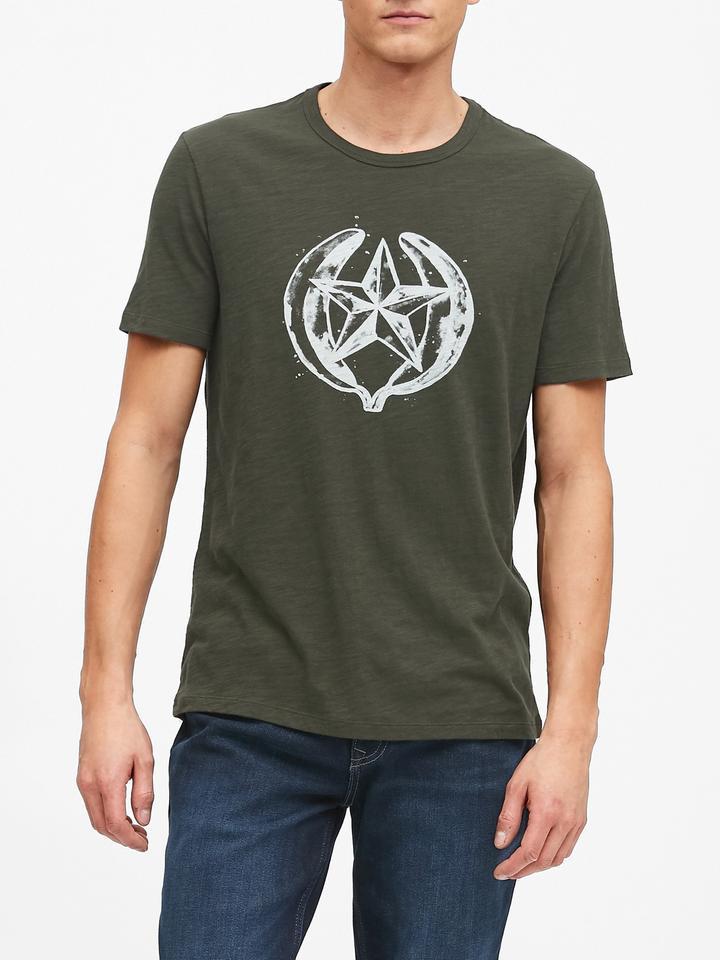 Erkek Yeşil Grafik Kısa Kollu T-Shirt