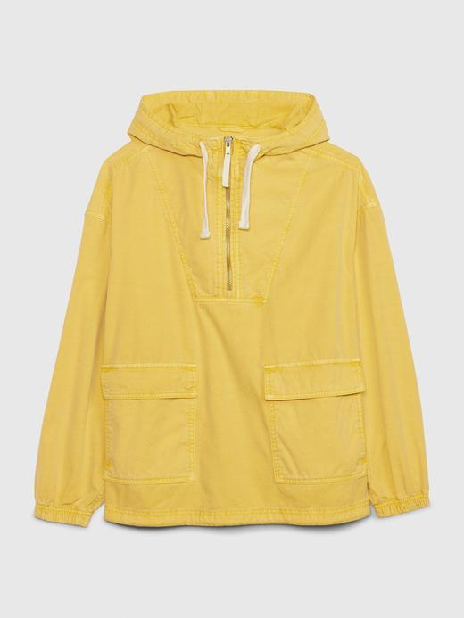Kadın Sarı Yarım Fermuarlı Kapüşonlu Yağmurluk