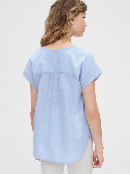 Kadın Mavi Kısa Kollu Popover Bluz