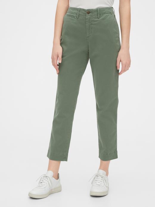 Kadın Yeşil High Rise Straight Khaki Pantolon