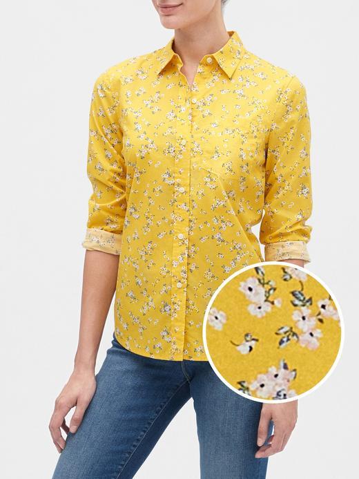 Kadın Sarı Desenli Uzun Kollu Gömlek