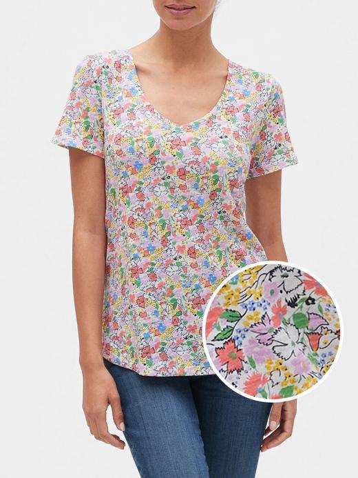 Kadın Çok renkli Desenli V Yaka T-Shirt