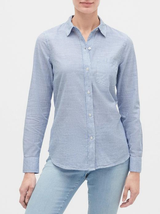 Kadın Mavi Çizgili Uzun Kollu Gömlek