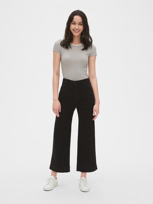 Kadın açık kahverengi Yüksek Belli Wide Leg Chino Pantolon