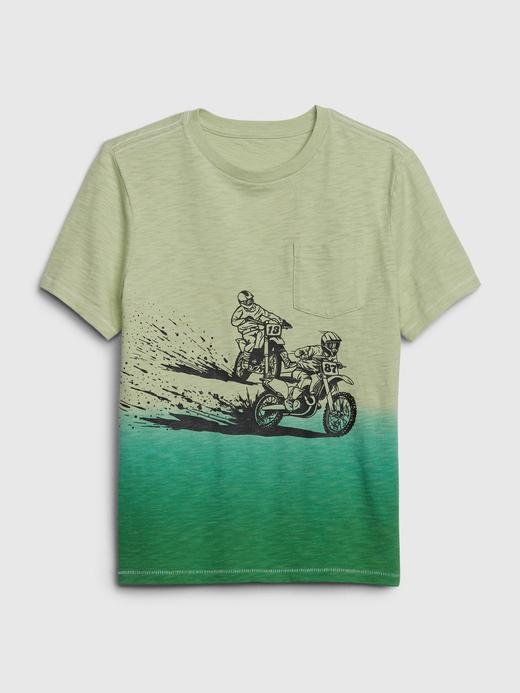 Erkek Çocuk Yeşil Cepli Kısa Kollu T-Shirt