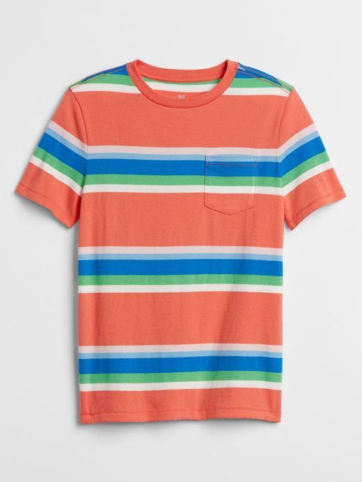 Erkek Çocuk Turuncu Çizgili Kısa Kollu T-Shirt