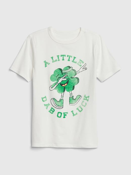 Erkek Çocuk Beyaz Grafik Kısa Kollu T-Shirt