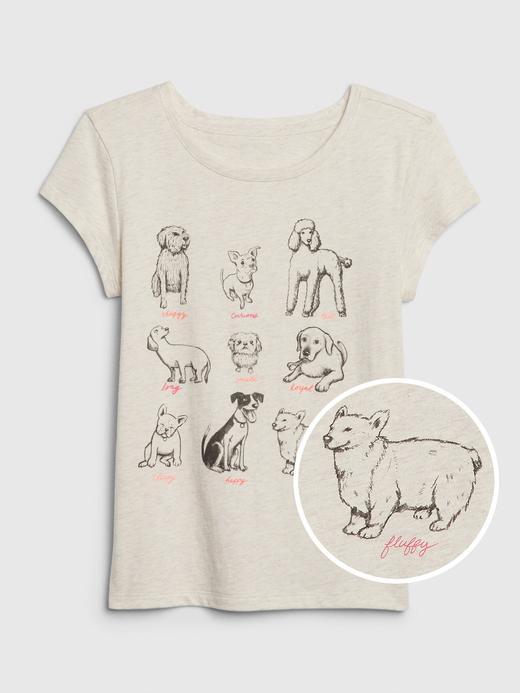 Kız Çocuk Bej Grafik Kısa Kollu T-Shirt