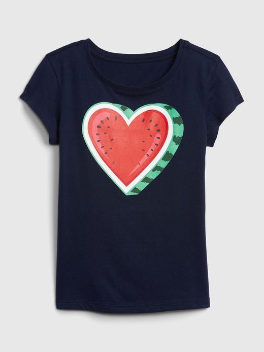 Kız Çocuk Lacivert Grafik Kısa Kollu T-Shirt