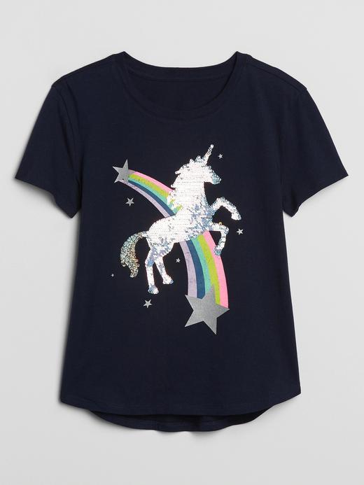 Kız Çocuk Lacivert Pullu Kısa Kollu T-Shirt