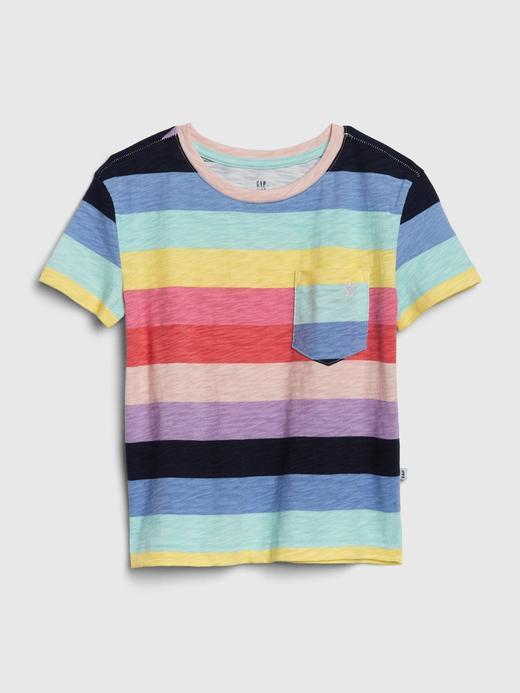Kız Çocuk Çok renkli Desenli Kısa Kollu T-Shirt