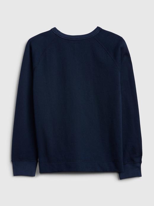 Erkek Çocuk Lacivert Grafik Düz Yakalı Sweatshirt