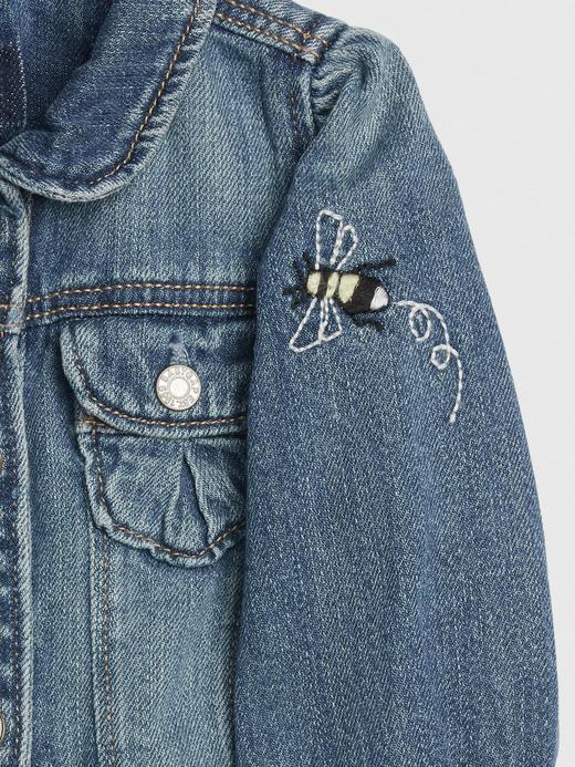 Kız Bebek Mavi İşlemeli Denim Ceket