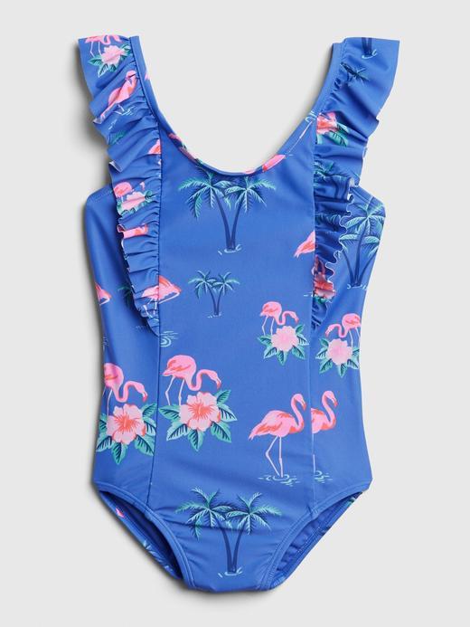 Kız Çocuk Mavi Flamingo Desenli Mayo