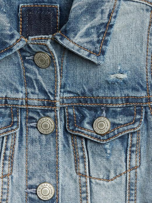 Kız Bebek Mavi Düğmeli Denim Ceket
