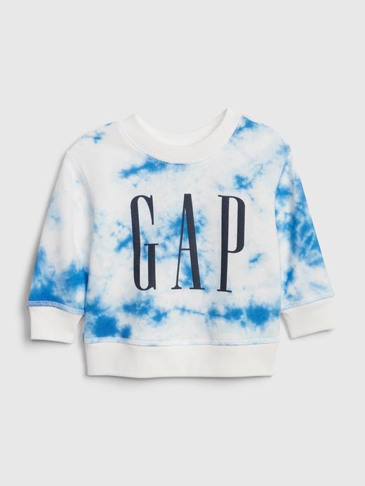 Erkek Bebek Mavi Gap Logo Batik Desenli Sweatshirt