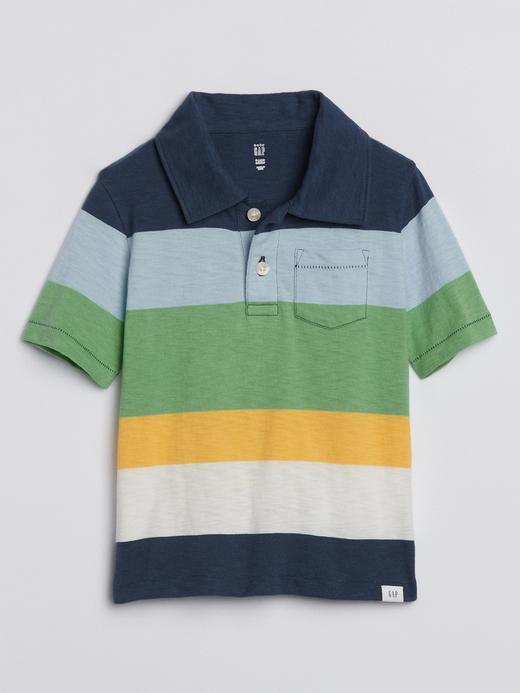Erkek Bebek Mavi Çizgili Polo Yaka T-Shirt