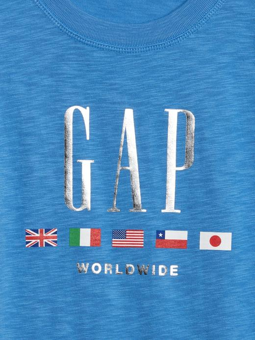 Kız Çocuk Mavi Gap Logo Kısa Kollu T-Shirt