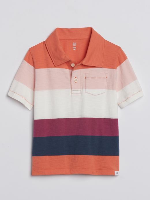 Erkek Bebek mercan Çizgili Polo Yaka T-Shirt