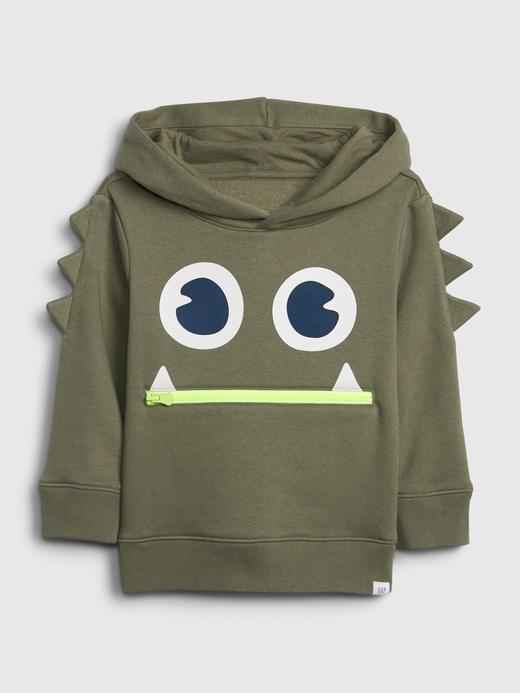 Erkek Bebek Yeşil 3D Grafik Kapüşonlu Sweatshirt