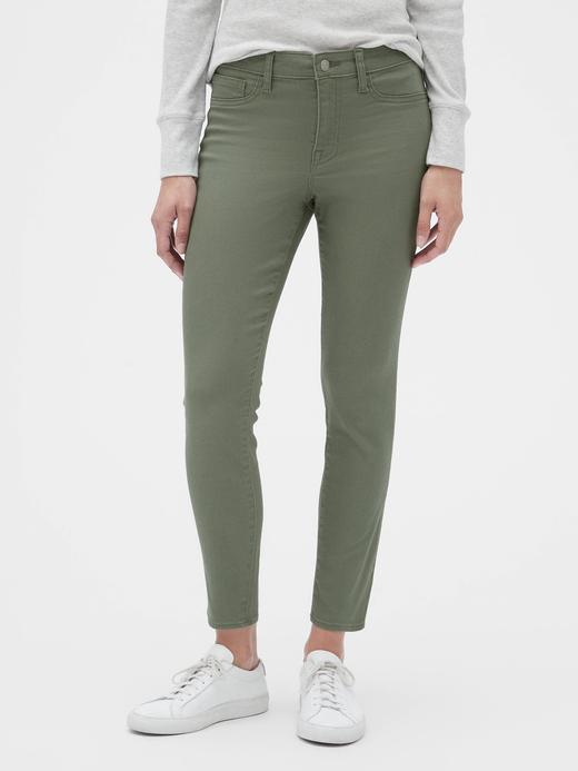 Kadın Yeşil Mid Rise Favorite Legging Jean Pantolon