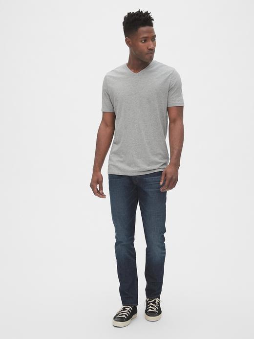 Erkek Gri V Yaka T-Shirt