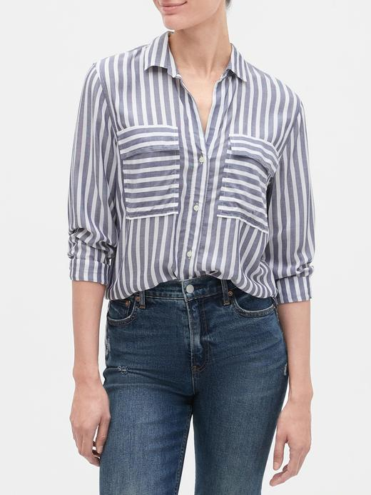 Kadın Lacivert Çizgili Uzun Kollu Gömlek