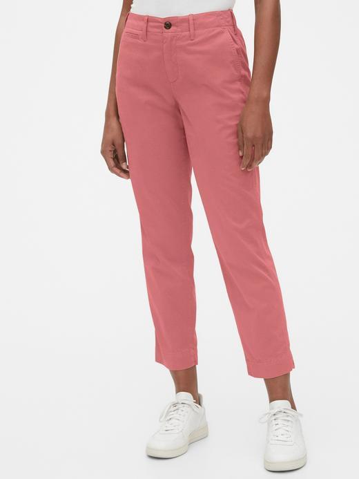 Kadın Pembe High Rise Straight Khaki Pantolon