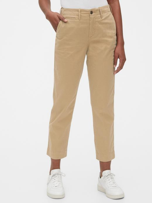 Kadın Bej High Rise Straight Fit Khaki Pantolon