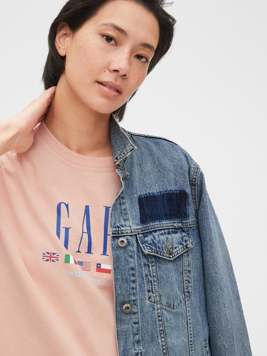 Kadın Mavi Gap Logo Grafik T-Shirt