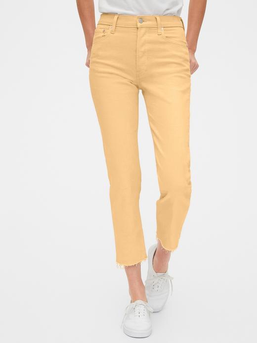 Kadın Turuncu High Rise Straight Jean Pantolon