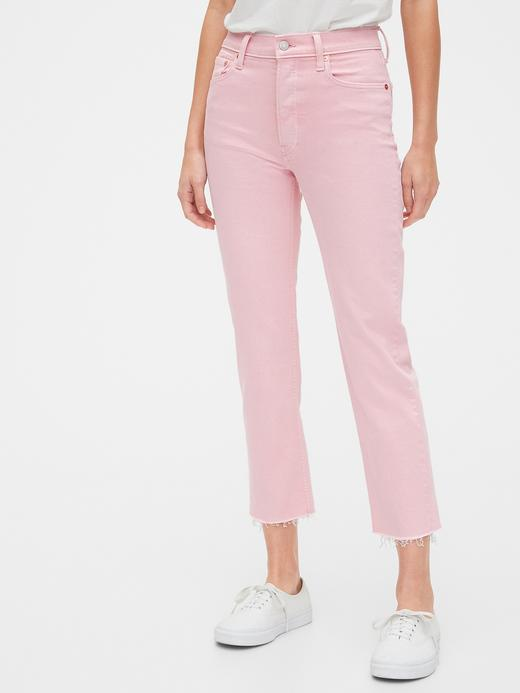 Kadın Pembe High Rise Straight Jean Pantolon