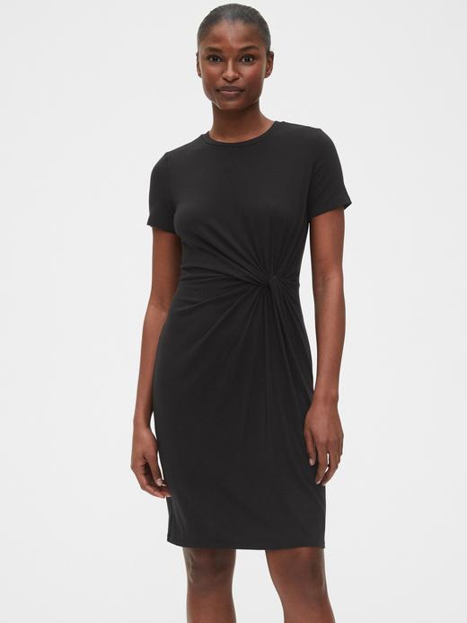 Kadın Siyah TENCEL™ Düğümllü Elbise