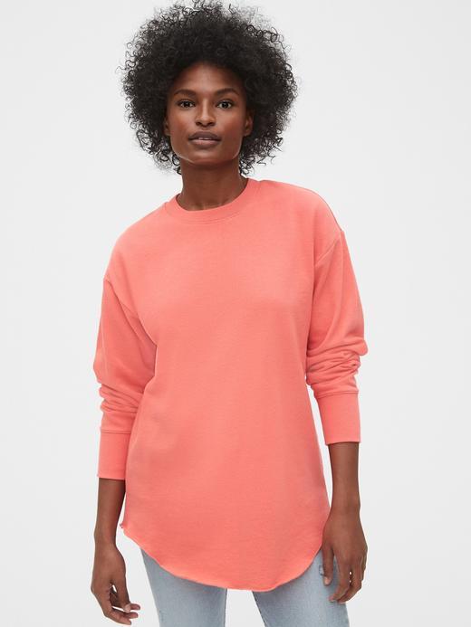 Kadın Pembe Düz Yakalı Tunik Sweatshirt