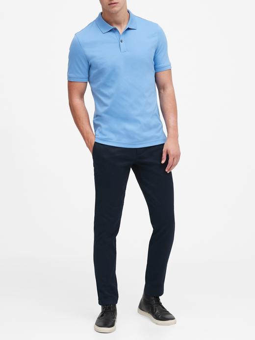 Erkek koyu gri Luxe Touch Polo Yaka T-Shirt